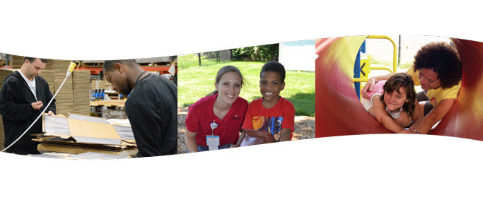 3 images 2 men working, volunteer with boy, counselor with child on playground