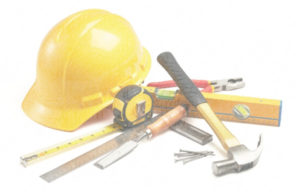 image of hard hat and construction tools