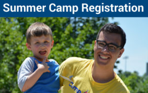 Summer Camp Registration Link and image of camper and counselor