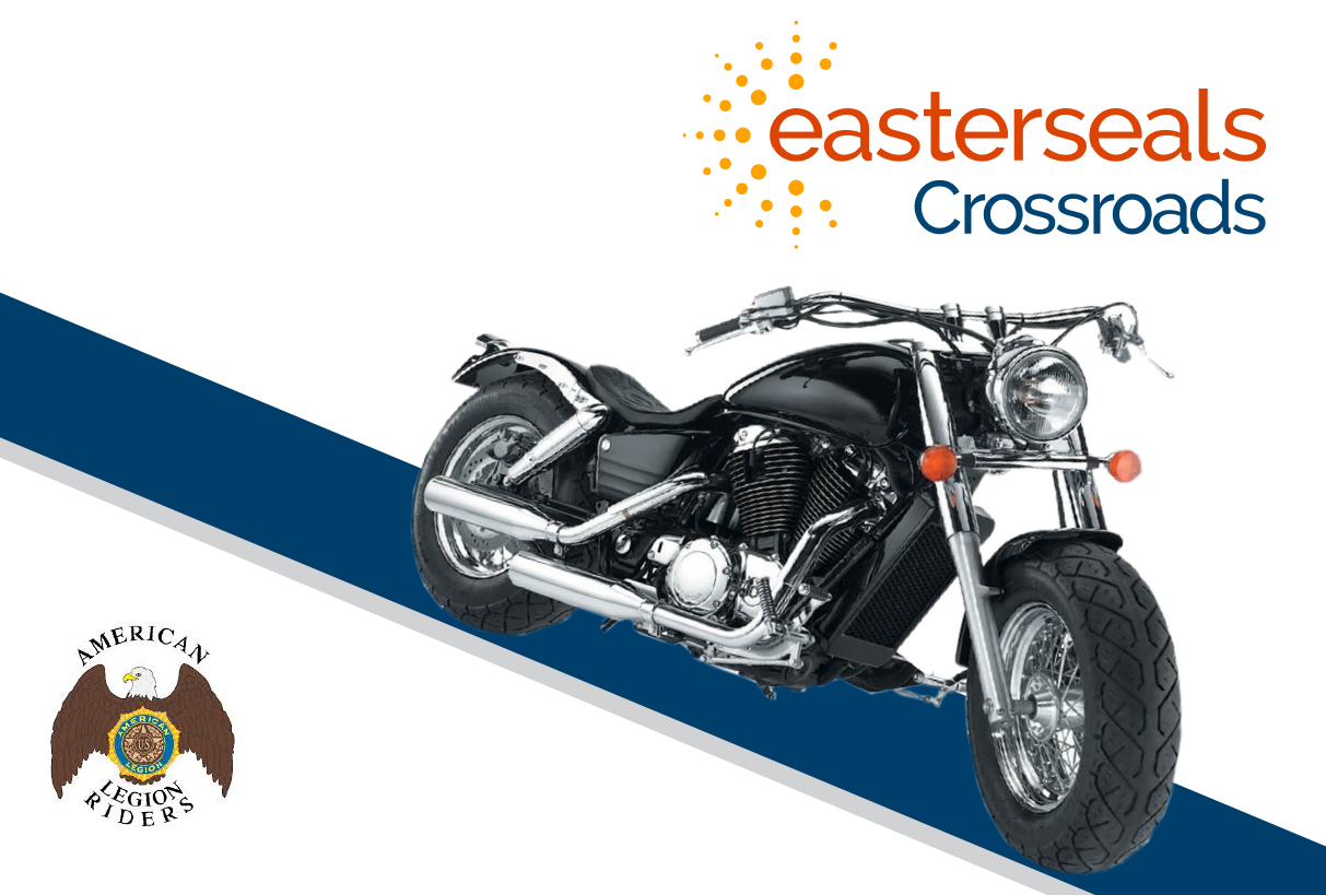 motorcycle image with Easterseals Crossroads logo and American Legion Riders logo