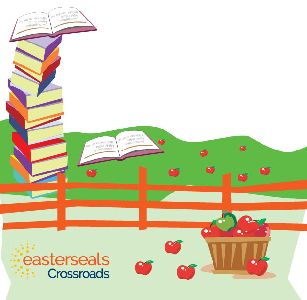 image of books, apples for family fun day