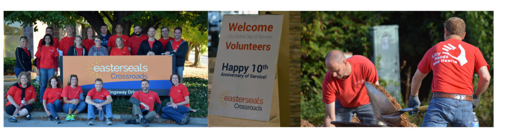 3 images of Lilly Global Day of Service volunteers
