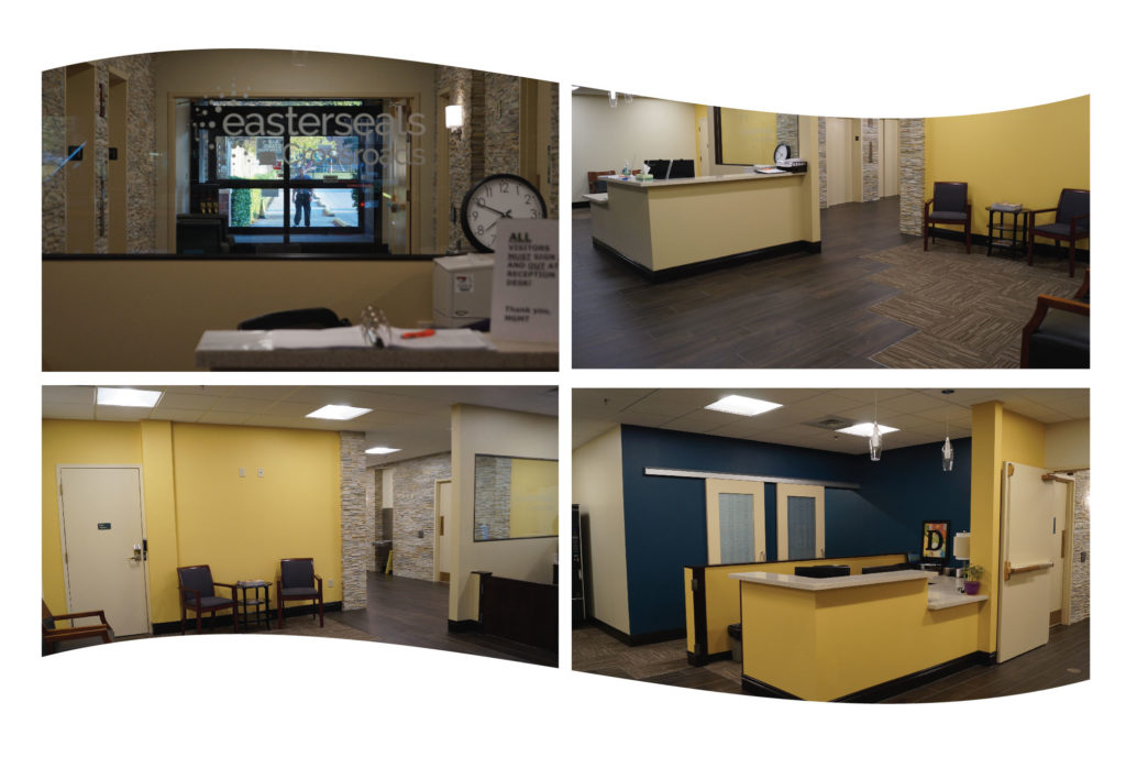 4 images of the lobby area at Easterseals Crossroads main location
