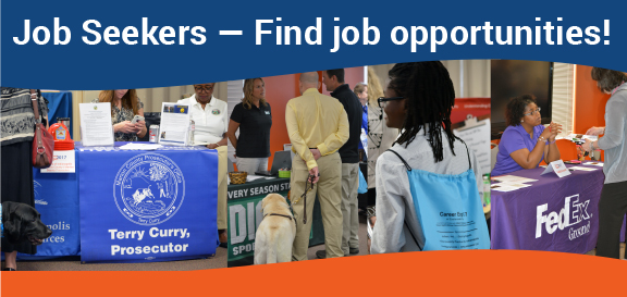 3 images of job seekers at career expo