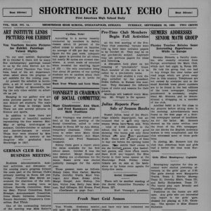 sample of page from Shortridge HS Daily Echo newspaper from 1939
