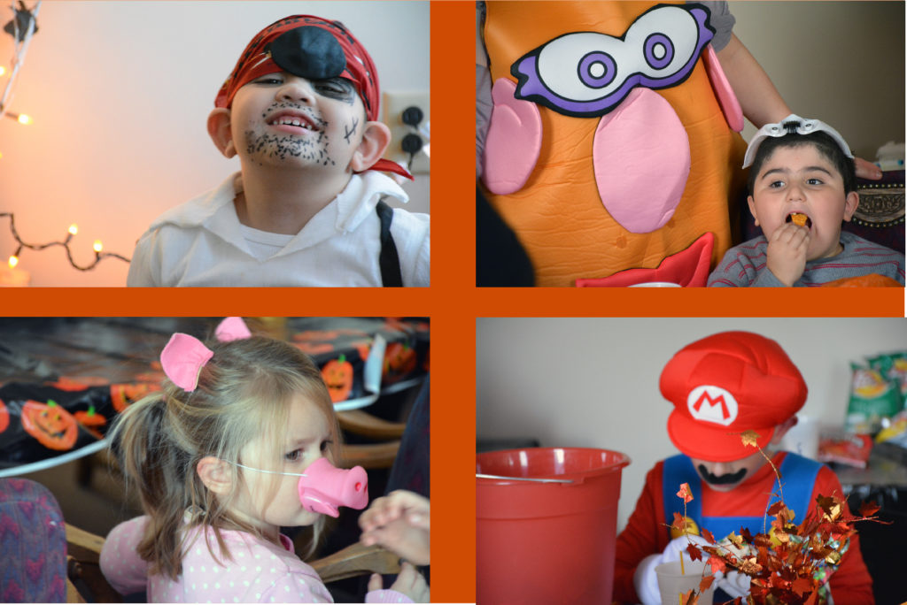 four Halloween photos of kids at party in costumes