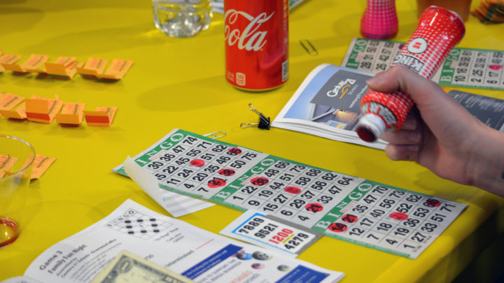 image of bingo with dauber, game card and table