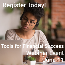 woman at webinar on computer with link to June 11 event
