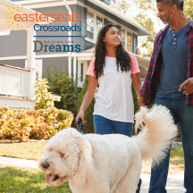 father and daughter walking with dog and link to Walking for dreams signup