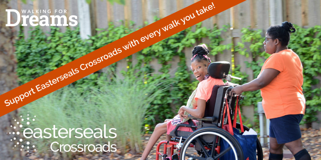 image of two women walking and logos of Easterseals Crossroads and Walking for Dreams