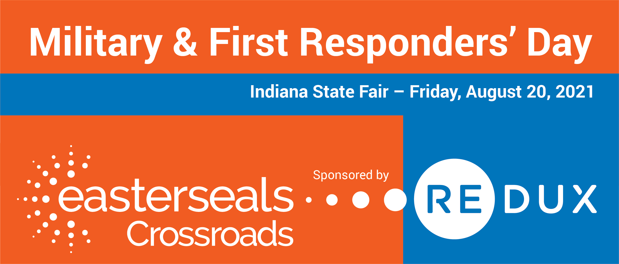 Easterseals Crossroads and Redux logos with text that we are at the Indiana State Fair