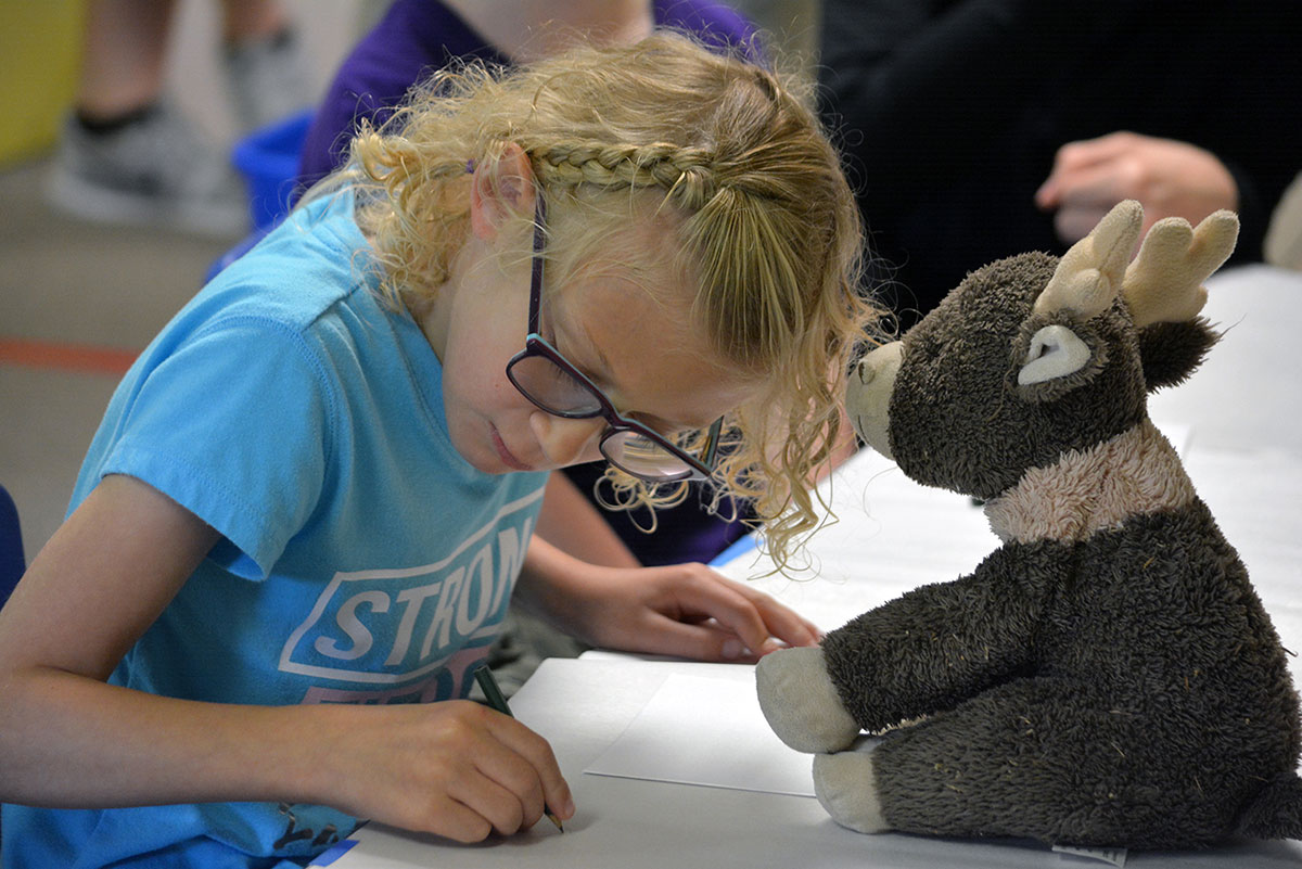 A girl writing or drawing with a stuffed animal.